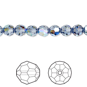 bead, swarovski crystals, crystal passions, denim blue ab, 6mm faceted round (5000). sold per pkg of 12.