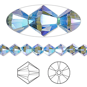 bead, swarovski crystals, crystal passions, denim blue ab2x, 6mm xilion bicone (5328). sold per pkg of 24.