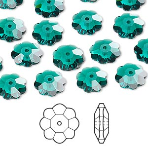 bead, swarovski crystals, crystal passions, emerald, 10x3.5mm faceted marguerite lochrose flower (3700). sold per pkg of 144 (1 gross).