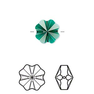 bead, swarovski crystals, crystal passions, emerald, 12x12mm faceted clover (5752). sold per pkg of 4.