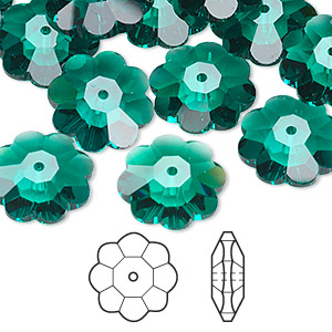 bead, swarovski crystals, crystal passions, emerald, 14x5mm faceted marguerite lochrose flower (3700). sold per pkg of 12.