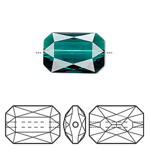 bead, swarovski crystals, crystal passions, emerald, 18x12.5mm faceted emerald cut (5515). sold per pkg of 4.