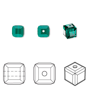 bead, swarovski crystals, crystal passions, emerald, 6x6mm faceted cube (5601). sold per pkg of 6.