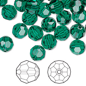 bead, swarovski crystals, crystal passions, emerald, 8mm faceted round (5000). sold per pkg of 144 (1 gross).