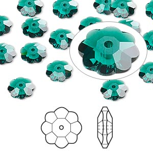 bead, swarovski crystals, crystal passions, emerald, 8x3mm faceted marguerite lochrose flower (3700). sold per pkg of 12.
