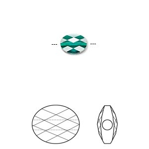 bead, swarovski crystals, crystal passions, emerald, 8x6mm faceted mini oval (5051). sold per pkg of 2.