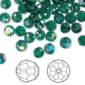 bead, swarovski crystals, crystal passions, emerald ab, 6mm faceted round (5000). sold per pkg of 144 (1 gross).