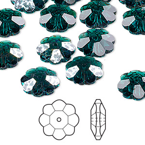 bead, swarovski crystals, crystal passions, emerald white patina, 12x4mm faceted marguerite lochrose flower (3700). sold per pkg of 12.