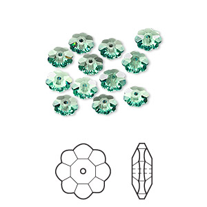 bead, swarovski crystals, crystal passions, erinite, 6x2mm faceted marguerite lochrose flower (3700). sold per pkg of 12.