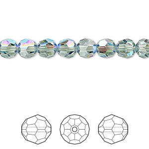 bead, swarovski crystals, crystal passions, erinite shimmer, 6mm faceted round (5000). sold per pkg of 12.