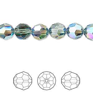 bead, swarovski crystals, crystal passions, erinite shimmer, 8mm faceted round (5000). sold per pkg of 144 (1 gross).