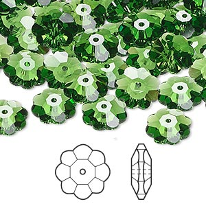 bead, swarovski crystals, crystal passions, fern green, 10x3.5mm faceted marguerite lochrose flower (3700). sold per pkg of 12.