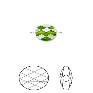 bead, swarovski crystals, crystal passions, fern green, 10x8mm faceted mini oval (5051). sold per pkg of 24.