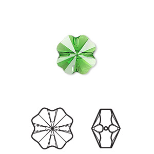 bead, swarovski crystals, crystal passions, fern green, 12x12mm faceted clover (5752). sold per pkg of 4.
