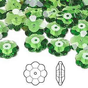 bead, swarovski crystals, crystal passions, fern green, 12x4mm faceted marguerite lochrose flower (3700). sold per pkg of 12.