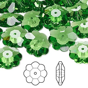 bead, swarovski crystals, crystal passions, fern green, 14x5mm faceted marguerite lochrose flower (3700). sold per pkg of 12.