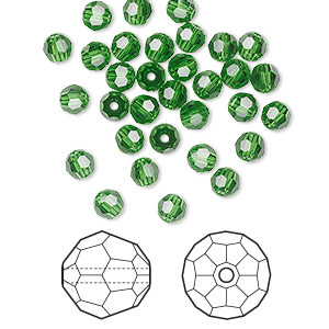 bead, swarovski crystals, crystal passions, fern green, 4mm faceted round (5000). sold per pkg of 144 (1 gross).