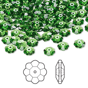 bead, swarovski crystals, crystal passions, fern green, 6x2mm faceted marguerite lochrose flower (3700). sold per pkg of 12.