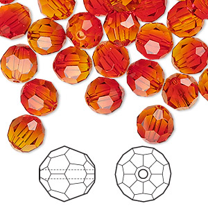 bead, swarovski crystals, crystal passions, fireopal, 8mm faceted round (5000). sold per pkg of 144 (1 gross).