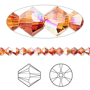 bead, swarovski crystals, crystal passions, fireopal ab, 4mm xilion bicone (5328). sold per pkg of 48.