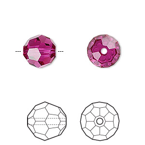 bead, swarovski crystals, crystal passions, fuchsia, 10mm faceted round (5000). sold per pkg of 2.