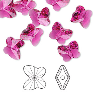 bead, swarovski crystals, crystal passions, fuchsia, 10x9mm faceted butterfly (5754). sold per pkg of 12.