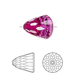 bead, swarovski crystals, crystal passions, fuchsia, 15x13.5mm faceted dome large (5541). sold individually.