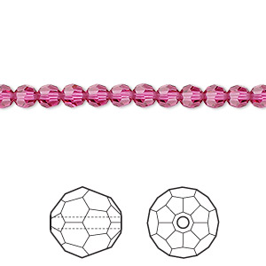 bead, swarovski crystals, crystal passions, fuchsia, 4mm faceted round (5000). sold per pkg of 12.