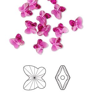 bead, swarovski crystals, crystal passions, fuchsia, 6x5mm faceted butterfly (5754). sold per pkg of 144 (1 gross).