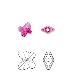 bead, swarovski crystals, crystal passions, fuchsia, 8x7mm faceted butterfly (5754). sold per pkg of 12.