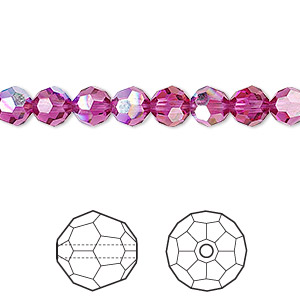 bead, swarovski crystals, crystal passions, fuchsia ab, 6mm faceted round (5000). sold per pkg of 12.