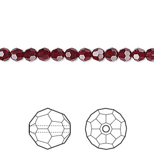 bead, swarovski crystals, crystal passions, garnet, 4mm faceted round (5000). sold per pkg of 12.