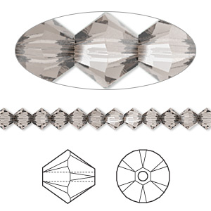 bead, swarovski crystals, crystal passions, greige, 4mm xilion bicone (5328). sold per pkg of 1,440 (10 gross).
