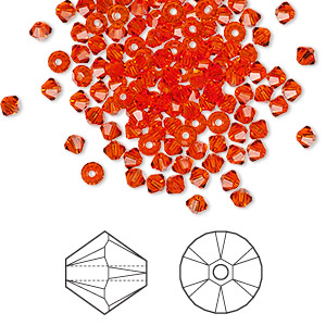 bead, swarovski crystals, crystal passions, hyacinth, 3mm xilion bicone (5328). sold per pkg of 144 (1 gross).