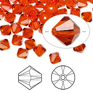 bead, swarovski crystals, crystal passions, hyacinth, 6mm xilion bicone (5328). sold per pkg of 24.