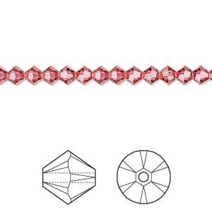 bead, swarovski crystals, crystal passions, indian pink, 4mm faceted bicone (5301). sold per pkg of 144 (1 gross).