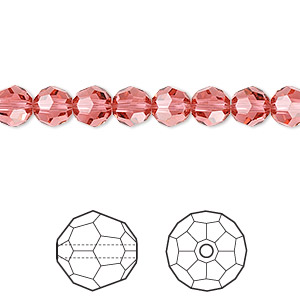 bead, swarovski crystals, crystal passions, indian pink, 6mm faceted round (5000). sold per pkg of 12.