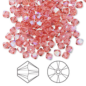 bead, swarovski crystals, crystal passions, indian pink ab, 4mm xilion bicone (5328). sold per pkg of 144 (1 gross).