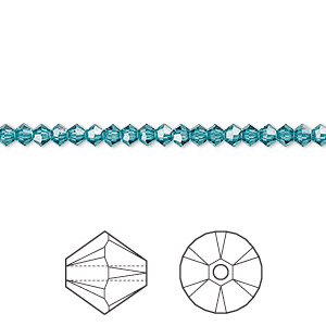 bead, swarovski crystals, crystal passions, indicolite, 3mm xilion bicone (5328). sold per pkg of 48.