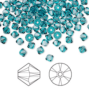 bead, swarovski crystals, crystal passions, indicolite, 4mm xilion bicone (5328). sold per pkg of 48.