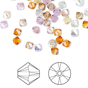 bead, swarovski crystals, crystal passions, innocence, 4mm xilion bicone (5328). sold per pkg of 144 (1 gross).