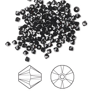 bead, swarovski crystals, crystal passions, jet, 2.5mm xilion bicone (5328). sold per pkg of 1,440 (10 gross).