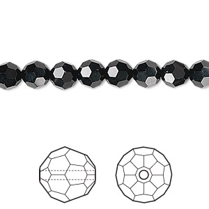 bead, swarovski crystals, crystal passions, jet, 6mm faceted round (5000). sold per pkg of 12.