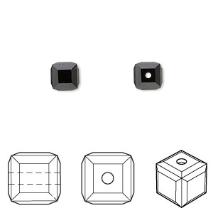 bead, swarovski crystals, crystal passions, jet, 6x6mm faceted cube (5601). sold per pkg of 48.