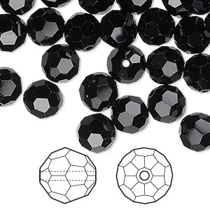 bead, swarovski crystals, crystal passions, jet, 8mm faceted round (5000). sold per pkg of 144 (1 gross).