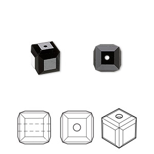 bead, swarovski crystals, crystal passions, jet, 8x8mm faceted cube (5601). sold per pkg of 6.