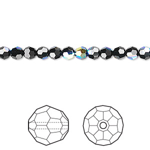 bead, swarovski crystals, crystal passions, jet ab, 4mm faceted round (5000). sold per pkg of 12.