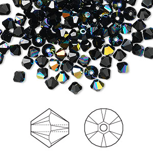 bead, swarovski crystals, crystal passions, jet ab, 4mm xilion bicone (5328). sold per pkg of 144 (1 gross).