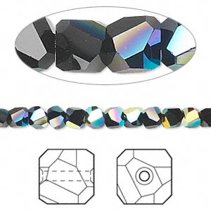 bead, swarovski crystals, crystal passions, jet ab, 4x4mm faceted graphic cube (5603). sold per pkg of 12.