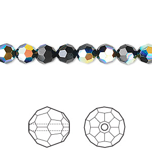 bead, swarovski crystals, crystal passions, jet ab, 6mm faceted round (5000). sold per pkg of 12.